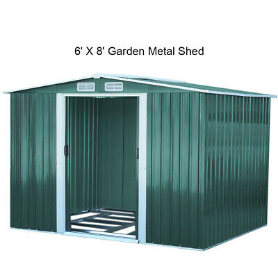£379.95 • Buy Metal Garden Shed 8 X 6 Green Galvanized Steel Panel House Storage Shed W/Base