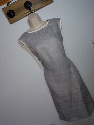 AU6.26 • Buy **HOBBS** Sz 14 Grey Linen A Line Dress