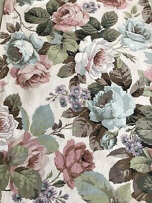 Sanderson Vintage Fabric 'Cabbage Roses Pink/blue&Ivory Cotton 40x116cm (B) • 4.50£