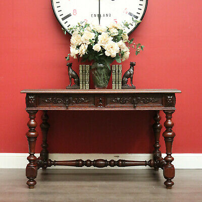 AU1195 • Buy Antique French Oak Hall Table Lamp Table, 2 Drawer Office Desk, Stretcher Base