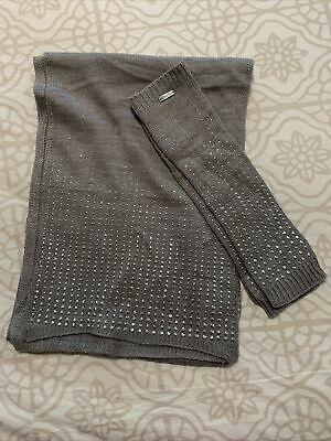 Calvin Klein Studded Grey Scarf And Matching Fingerless Gloves **NEW** • 15.73£