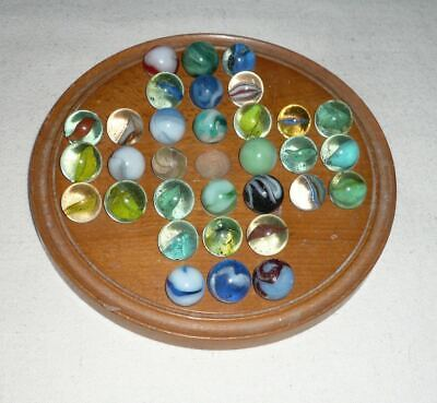 £34 • Buy Vintage Or Antique Carved Wooden Solitaire Board Game With Old Glass Marbles