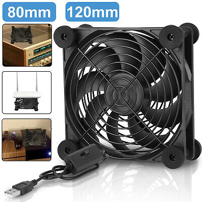 $12.98 • Buy 80mm/120mm Silent USB Cooling Fan 3 Level Speed For Receivers/DVRs/Game Consoles