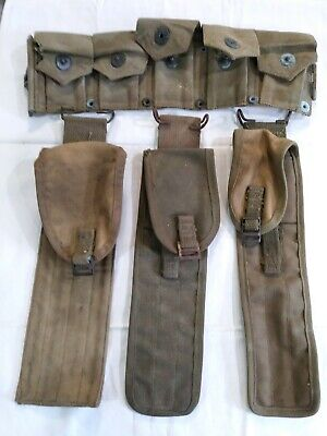 $30 • Buy LOT OF 3 M-1 GARAND  Cleaning Kit BAGS And 1 HALF OF A  AMMO POUCH  BELT