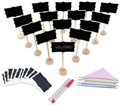 £18.54 • Buy Mini Chalkboards, 36 Pcs Wooden Holder Small Chalkboard Signs Place Cards For