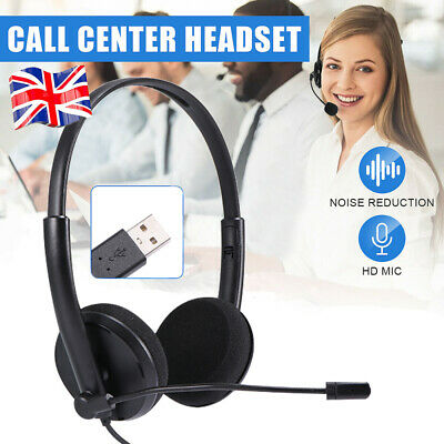 £6.18 • Buy Black USB Wired Call Center Business Headphone WIth Mic Work Headset Earphone