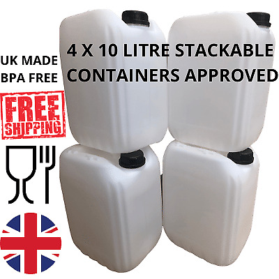£16.99 • Buy 4 X 10 Litre Water Container Food Grade Stacking Compact Strong Bpa Free New