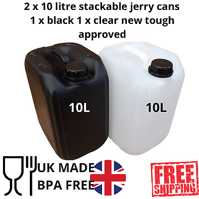 £11.99 • Buy 2 X 10 Litre Water Container Food Grade Stacking Compact Strong 1 Black 1 Clear