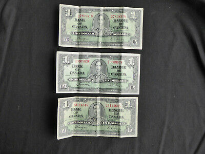 3 X 1937 Canadian 1 Dollar Notes • 10£
