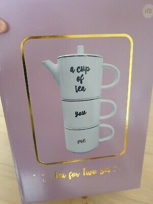£12 • Buy A Cup Of Tea White Stackable Ceramic You & Me Twin Valentines Mug Teapot Set.