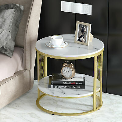£71.92 • Buy 2 Tiers Solid Marble Top Round Coffee Table Lounge Living Room Modern Gold Legs