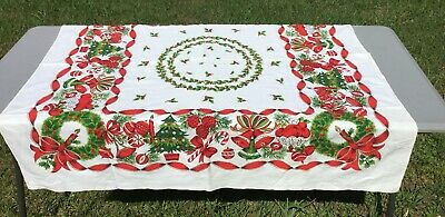 "$ CDN36.38 • Buy Vintage Christmas Tablecloth Bells Baubles Holly 48"" X 48"""