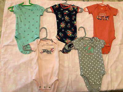AU4.47 • Buy Baby Girl Clothes- Lot Of 5 Bodysuits. 0-3 Months