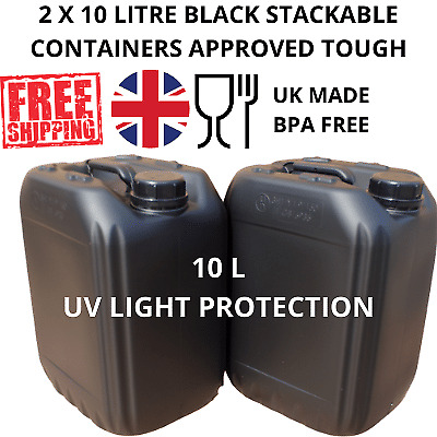 £11.49 • Buy 2 X 10 Litre Water Container Food Grade Stacking Compact Strong Bpa Free Black