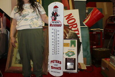 $ CDN12.04 • Buy Large Peters Weatherbird Shoes Shoe Gas Oil 39  Porcelain Metal Thermometer Sign