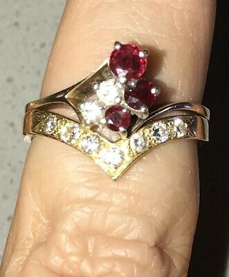 AU750 • Buy Ruby And Diamond Gold Engagement And Wedding Ring Set 18 Carat Gold