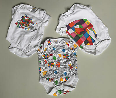 AU18.06 • Buy Baby Girl Clothes Elmer Bundle X3 Short Sleeved Suits Up To 3 Months Elephants