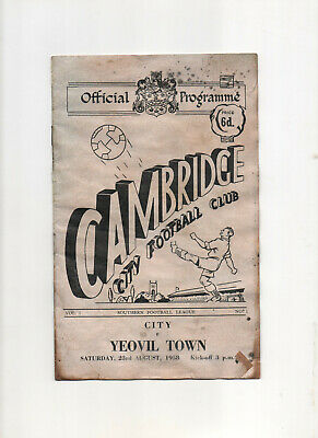 £1 • Buy 1958. Cambridge City FC V Yeovil Town Football Programme. August 23rd