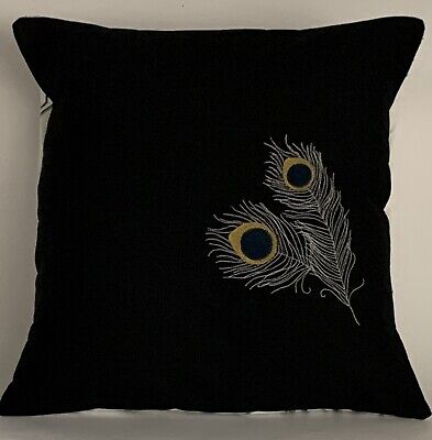 """£13 • Buy Peacock Feather Semi-monochrome Embroidered Cushion Cover 14""""x14"""" **Last Two**"""