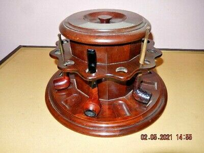 £225 • Buy  Large Dunhill White Spot 12 Holder  Pipe Rack With Centre Tobacco Jar 1930,s
