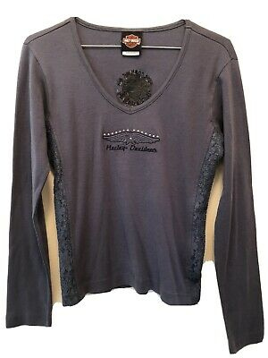 $ CDN18.13 • Buy HARLEY DAVIDSON Womens Blue V-Neck Lace Trim Tee Long Sleeve Graphic Stud S