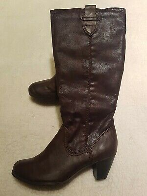 Pavers Brown Calf High Heeled Boots Size 6.5   • 4.79£