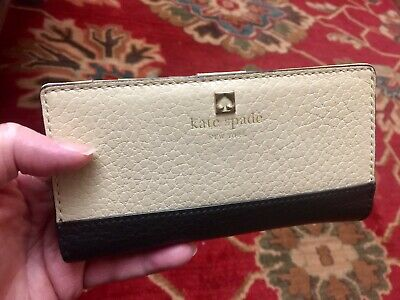 $ CDN30.23 • Buy Kate Spade Stacy Bifold Wallet Southport Ave Continental Cream & Black Leather