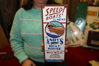 $ CDN15.12 • Buy Andy's Speed Boats For Rent Chris Craft Fishing Gas Oil Porcelain Metal Sign