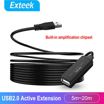 AU25.95 • Buy 5/10/15/20M USB 2.0 Extension Cabl Signal Amplifier Booster Male To Female Cord