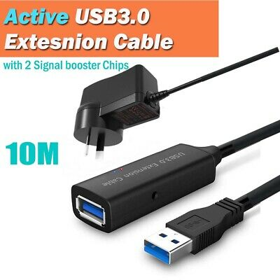 AU58.95 • Buy 10m USB 3.0 Active Extension Extender Cable Male To Female Signal Booster Chip