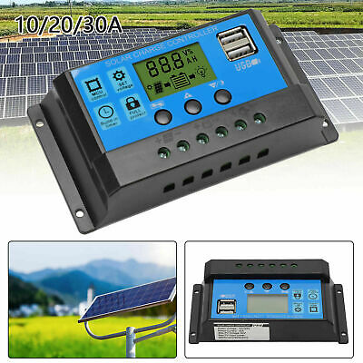 £7.67 • Buy Solar Panel Battery Charge 10A 20A 30A Controller 12V/24V LCD Regulator Dual USB
