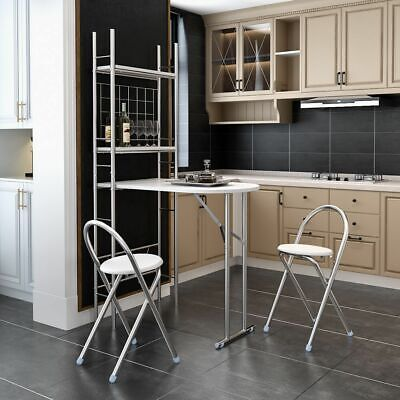£79.95 • Buy Modern White Storage Shelf Folding Breakfast Bar Dining Table With 2 Chairs Set