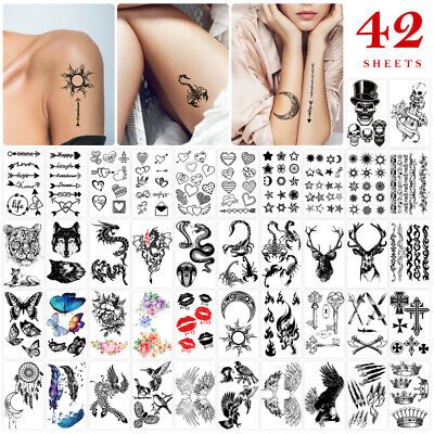 £5.61 • Buy 42 Sheets Temporary Tattoos Paper Safe Waterproof Body Stickers For Adults