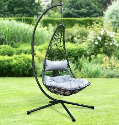 £204.99 • Buy Alfresco New York Hanging Garden Egg Swing Chair With Stand & Cushions Grey