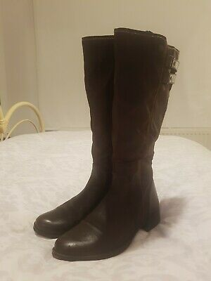 Pavers Dark Brown Long Leather Boots 40 UK Size 6.5 • 14.99£