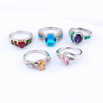 $ CDN12.08 • Buy 5PCS Wholesale Lots Mixed Jewelry Party Gift Silver Fire Opal Ring #10 S058