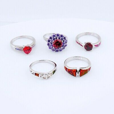 $ CDN12.08 • Buy 5PCS Wholesale Lots Mixed Jewelry Party Gift Silver Fire Opal Ring #8 S052