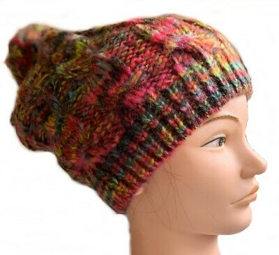 £4.99 • Buy Knitted Hat Cable Beanie Pom Pom Ladies Mens Unisex Bright Multicolour Chunky