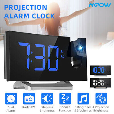 AU43.59 • Buy Mpow Digital Snooze Alarm Clock Radio LED Color Display Wall/Ceiling Projection