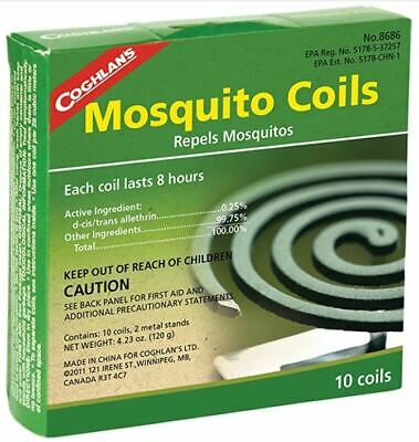 £5.69 • Buy COGHLAN'S MOSQUITO COILS 10 Pack Insect Repellent Midge Bug Coil Camping Burner