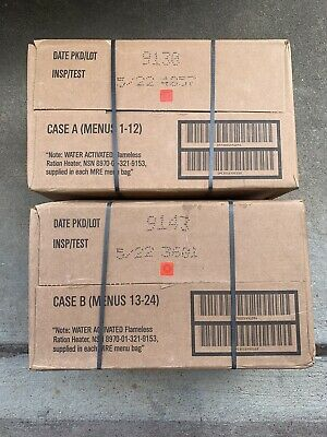 $150 • Buy Case A & B USGI Military MRE Meals Ready To Eat 24 Meals INSP 05/2022