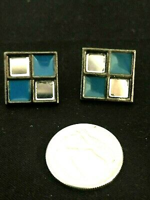 £48.80 • Buy Vintage Modrian YSL Yves St. Laurent Mirror & Blue Enameled Squares Earrings
