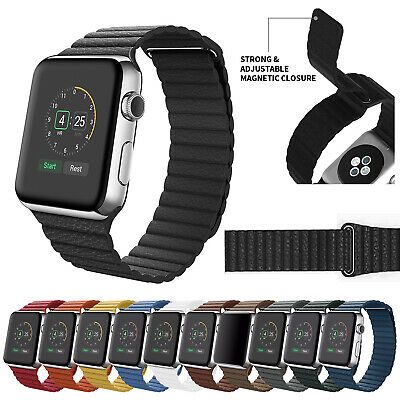 $ CDN7.24 • Buy For Apple Watch Series 5 4 3 2 1 Leather Loop Magnetic Band Strap 38/42/40/44mm