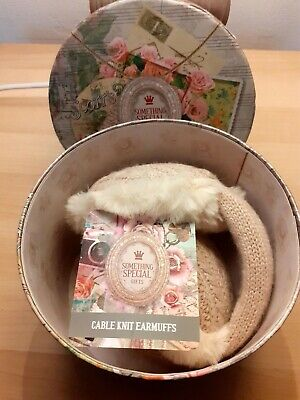 £5 • Buy Ladies Cable Knit Earmuffs Dusty Pink Something Special Gifts Brandwell B.n.w.t