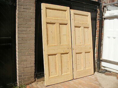 £195 • Buy Large And Heavy Reclaimed Edwardian / Victorian 5 Panel Stripped Pine Doors.
