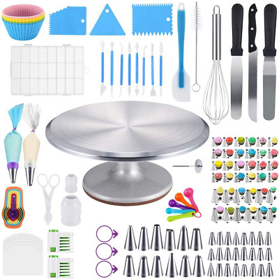 £66.51 • Buy Cake Decorating Supplies Kit 120 Pieces With Cake Turntable Stand Locking Alumin