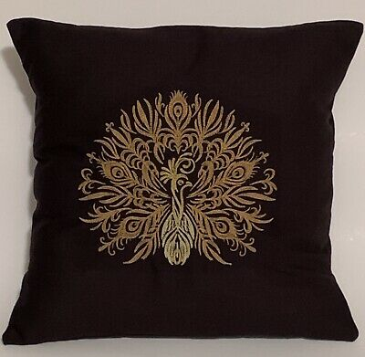 """£13 • Buy Peacock Gold Embroidered Cushion Cover BLACK 14""""x14"""""""