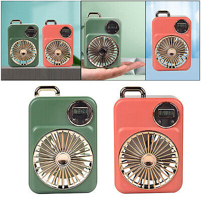 AU11.97 • Buy Mini USB Portable Desktop Fan With Clock Quiet For Camping Golf Sports
