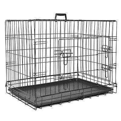 £39.97 • Buy Pet Cage Folding Metal Dog Crate Strong Cat Carrier Double Door Removable Tray