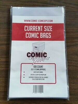 £6.99 • Buy 100 X CURRENT SIZE COMIC CONCEPT COMIC BOOK BAGS